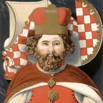 Wizerunek ostatniego niezależnego piastowskiego księcia na Śląsku Bolka II Małego z jego nagrobka w Krzeszowie.