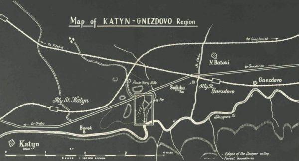 Mapa rejonu Katynia i Gniezdowa sporządzona przez generała Mariana Kukiela w 1946 roku.