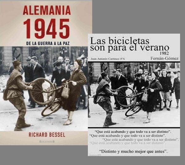 Dwa przykłady książek, na których wykorzystano słynne zdjęcie czerwonoarmisty kradnącego rower.