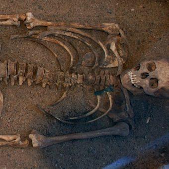 Pochówek szkieletowy związany z kulturą wielbarską.
