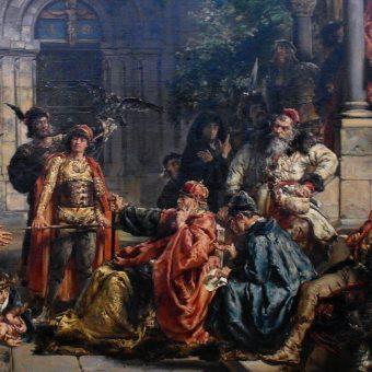 """Fragment obrazu Jana Matejki z 1889 roku pt. """"Przyjęcie Żydów w Polsce 1096"""", na którym widzimy Władysława Hermana z rodziną i doradcami."""