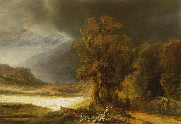 """Jednym z cenniejszych eksponatów w kolekcji jest obraz Rembrandta """"Pejzaż z miłosiernym Samarytaninem""""."""