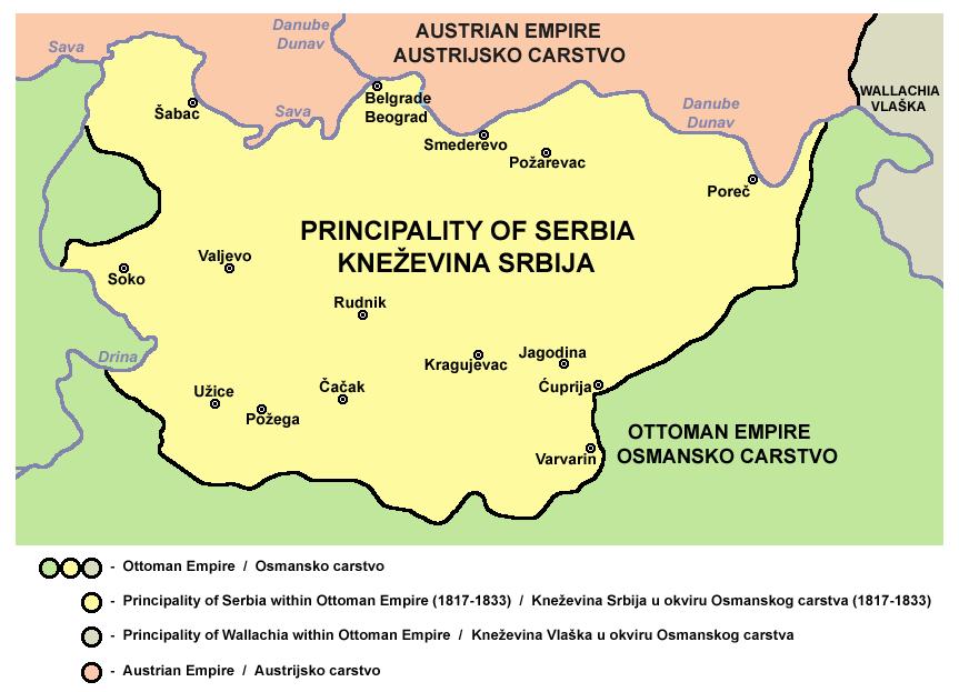 Mała Serbia odgrywała wielką rolę w planach Czartoryskiego. Na zdjęciu mapa Księstwa Serbii w roku 1817.