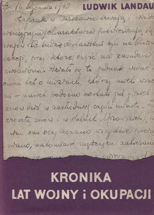 Ludwik, Landau, Kronika lat wojny i okupacji