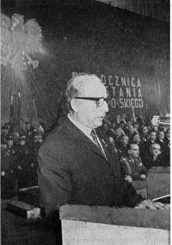 Marian Spychalski. Polski działacz partyjny i państwowy. Został odsunięty od polityki razem z ekipą Gomułki w efekcie wydarzeń na Wybrzeżu w grudniu 1970 roku.