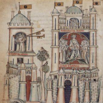 Zamek na ilustracji Flamandzkiego Mistrza z XIII wieku.