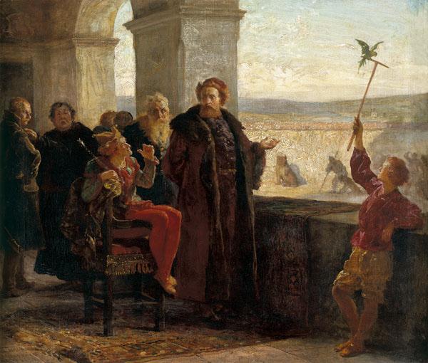 """Zygmunt Stary sprowadził włoskich architektów, aby przebudować Zamek Dolny. Powyżej obraz Wojciecha Gersona """"Zygmunt Stary ze Stańczykiem na Wawelu"""" z 1895 roku."""
