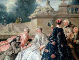 """Suknia francuska, która weszła w modę w latach 30. XVIII wieku. Jean-François de Troy """"Deklaracja miłości"""", 1731."""