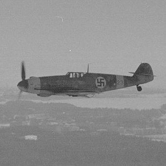 Messerschmitt Bf - 109, podstawowy myśliwiec używany przez Luftwaffe podczas II wojny światowej.