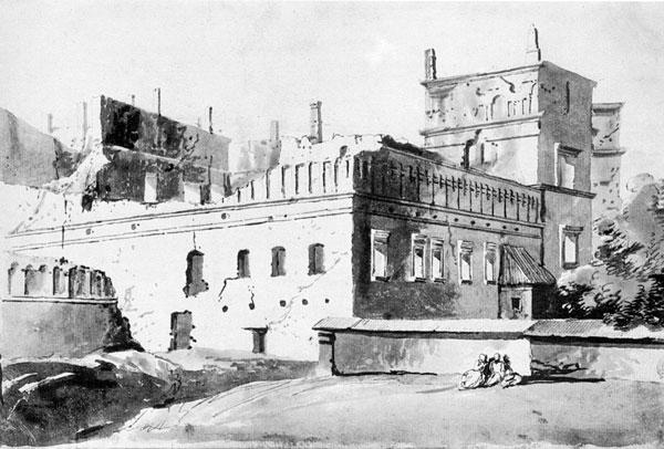 Nie było zbyt wielu dokumentów, które mogłyby pomóc podczas rekonstrukcji Zamku. Powyżej obraz Zamku Dolnego autorstwa Franciszka Smuglewicza z XVIII wieku.