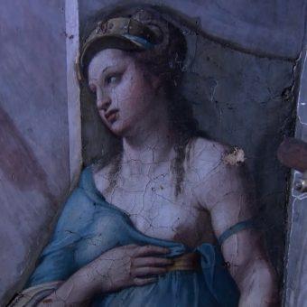 """Alegoria Przyjaźni, niedawno """"odkryte"""" dzieło Rafaela Santi znajdowała się cały czas w Sali Konstantyna."""