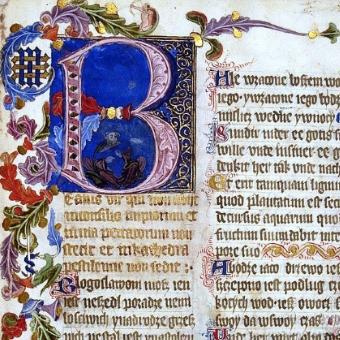 Fragment karty z Psałterza floriańskiego, znajdującego się w zbiorach BN.