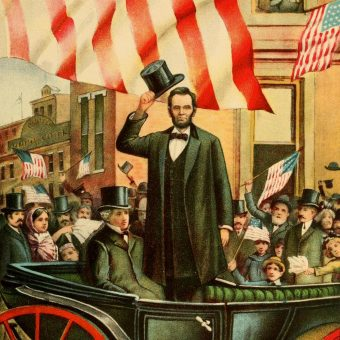 Lincoln podczas inauguracji prezydentury 4 marca 1861 roku. Ilustracja z przełomu XIX i XX wieku.