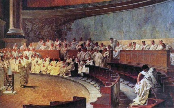 """""""Cyceron ujawnia spisek Katyliny"""" na fresku Cesare Maccariego. Prawo rzymskie pomagało utrzymać ład i broniło przed próbami siłowego przejęcia władzy."""