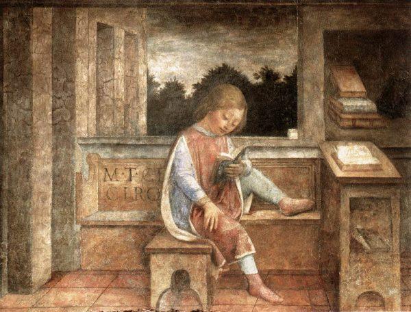 Tak w XVI wieku Vincenzo Foppa wyobrażał sobie młodego Cycerona. Ciekawe czy on też nie znosił nauki prawa rzymskiego?