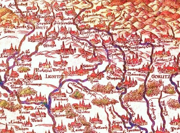 Miedzianka, niewielkie miasteczko leżące pomiędzy Jelenią Górą a Kamienną Górą. Na mapie Dolnego Śląska z 1561 roku jako Kupferberg.