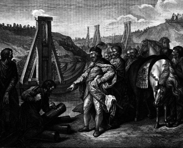 Bolesław Chrobry to najlepiej oświetlony przez źródła polski władca XI wieku. na tej XIX-wiecznej ilustracji Jana Kazimierza Wilczyńskiego widzimy, jak wbija słupy graniczne na Soławie.