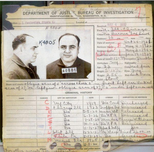Zapis karny FBI dotyczący zbrodni popełnionych przez Ala Capone nie był krótki. Nie wszystkie jednak zbrodnie zostały mu udowodnione.