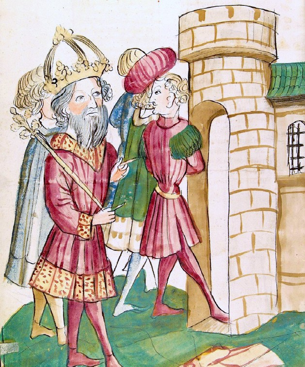 Bolesław Chrobry świetnie sobie radził z wyszukiwaniem sprzymierzeńców. Dogadywał się nawet z włoskimi książętami przeciw cesarzowi. Na ilustracji Henryk II i książę Kapui Pandulf IV.