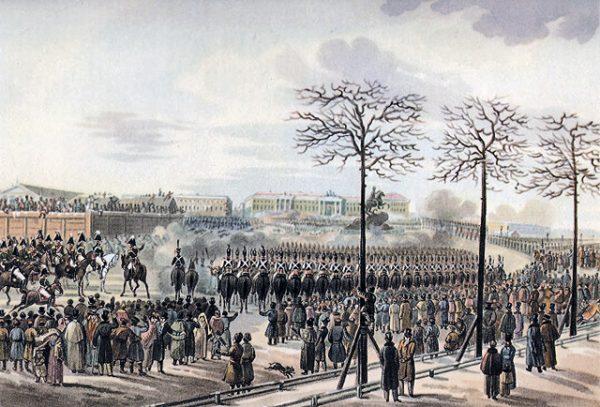Jednym z kryzysowych momentów w historii Rosji było powstanie dekabrystów. Trzy tysiące zebranych na Placu Senackim żołnierzy, 26 grudnia 1825 roku oficjalnie zademonstrowało brak poparcia dla nowego cara. Na karę śmierci skazano aż 289 przywódców buntu. Na ilustracji obraz Karla Kolmana.