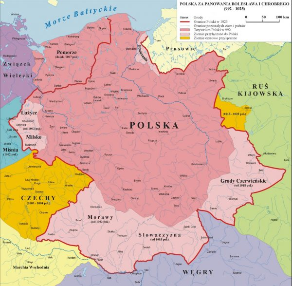 Polska była w czasach Chrobrego mocarstwem. I w przeciwieństwie do rojeń o Wielkiej Lechii mamy na to twarde dowody. Mapa przedstawia zasięg podbojów pierwszego króla Polski.