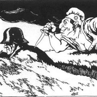 Nacjonalistyczny plakat propagandowy przedstawiający zdradę lewicy w czasie I wojny światowej pod postacią Żyda. To właśnie po 1918 roku w Niemczech zaczęły powstawać stowarzyszenia głoszące konieczność zachowania czystości rasy. Jednym z nich byli Artamani.