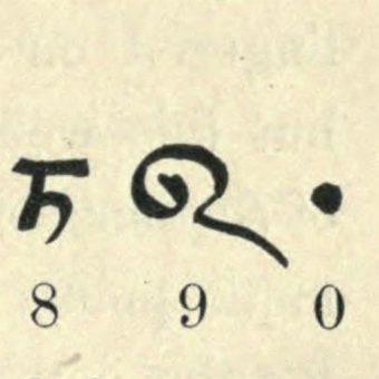 Fragment objaśnienia kształtu cyfr z rękopisu Bakhshali.