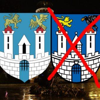 Obecny herb Częstochowy (przekreślony) i ten historyczny, do którego miasto chce powrócić.