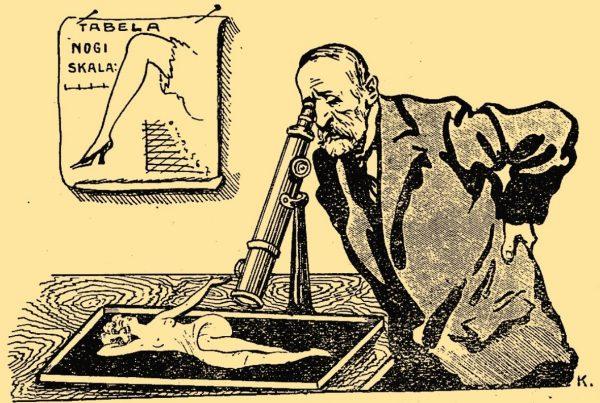 """Pod koniec XIX stulecia całe życie seksualne człowieka znalazło się pod mikroskopem. Ilustracja z pisma """"Amorek"""", 1924 rok."""