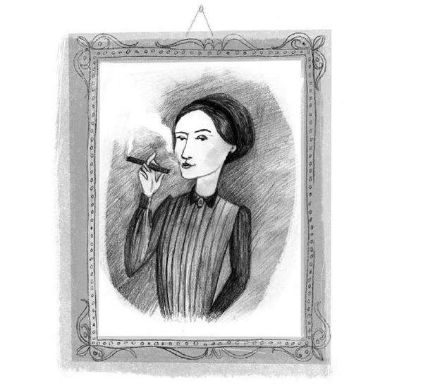 """Palenie cygara przez kobietę uważano w XIX wieku za skandaliczne. Dla Żmichowskiej był to natomiast symbol wolności. Ilustracja pochodzi z książki Anny Dziewit-Meller """"Damy, dziewuchy, dziewczyny. Historia w spódnicy"""" (Znak Emotikon 2017)."""