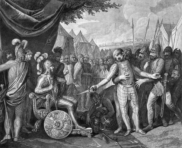 Czy Mieszko był tak dalekowzroczny, by widzieć efekty chrztu na całą dalszą historię państwa. Rycina E.G. Kruger z 1807 roku, przedstawiająca Wichmanna Młodszego, który poddaje się polskiemu księciu.