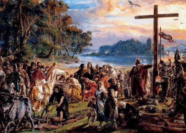 Co ciekawe, nikt w Europie nie przyznawał się do ochrzczenia Piastów. Obraz Jana Matejki z 1889 roku, przedstawiająca zaprowadzenie chrześcijaństwa w Polsce.