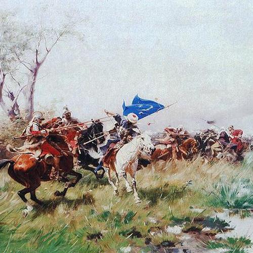 """Fragment obrazu Józefa Brandta """"Atak kawalerii"""""""