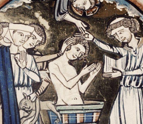 """Czy Bolesław Okrutny poprzez ochrzczenie chciał poprawić swój piar? Scena chrztu z XIII-wiecznego manuskryptu """"Bible moralisée""""."""