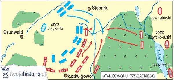 Bitwa pod Grunwaldem - atak odwodu krzyżackiego (ryc. Daniel Malak/TwojaHistoria.pl).