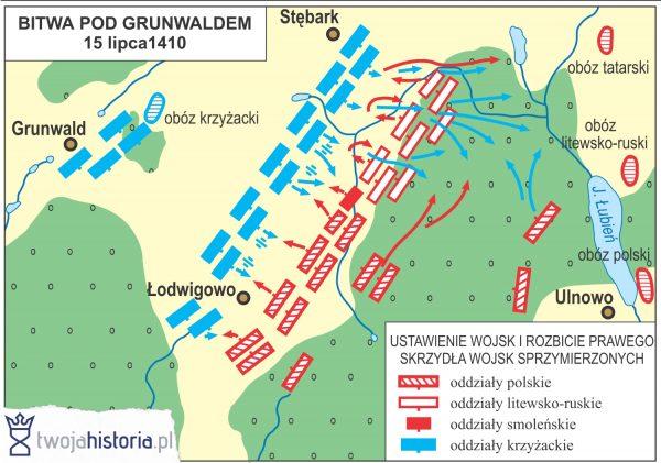 Bitwa pod Grunwaldem - ustawienie wojsk i rozbicie prawego skrzydła wojsk sprzymierzonych (ryc. Daniel Malak/TwojaHistoria.pl).