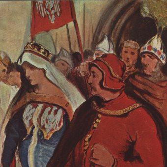 Najpopularniejsza polska władczyni Jadwiga Andegaweńska na rysunku Włodzimierza Tetmajera.