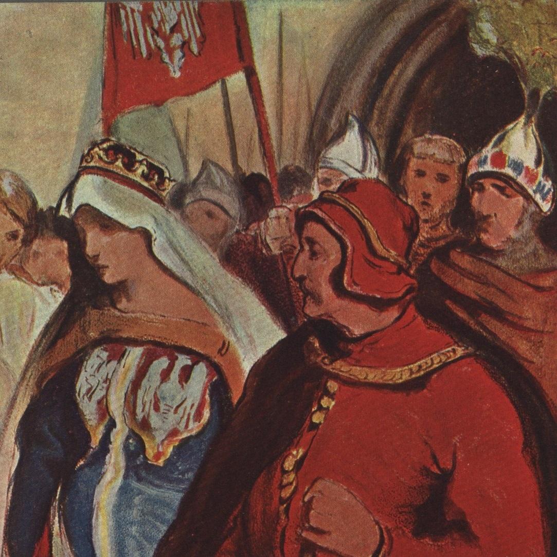Jadwiga Andegaweńska na rysunku Włodzimierza Tetmajera.