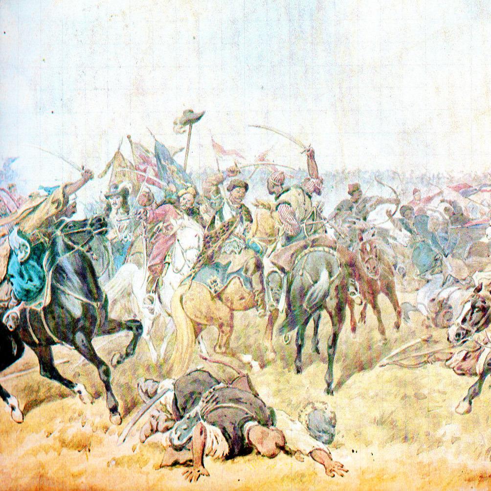 """Fragment obrazu Juliusza Kossaka """"Mikołaj Gniewosz ratuje króla w bitwie pod Zborowem""""."""