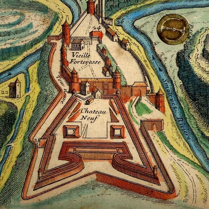 Twierdza w Kamieńcu Podolskim na francuskiej mapie z końca XVII wieku.