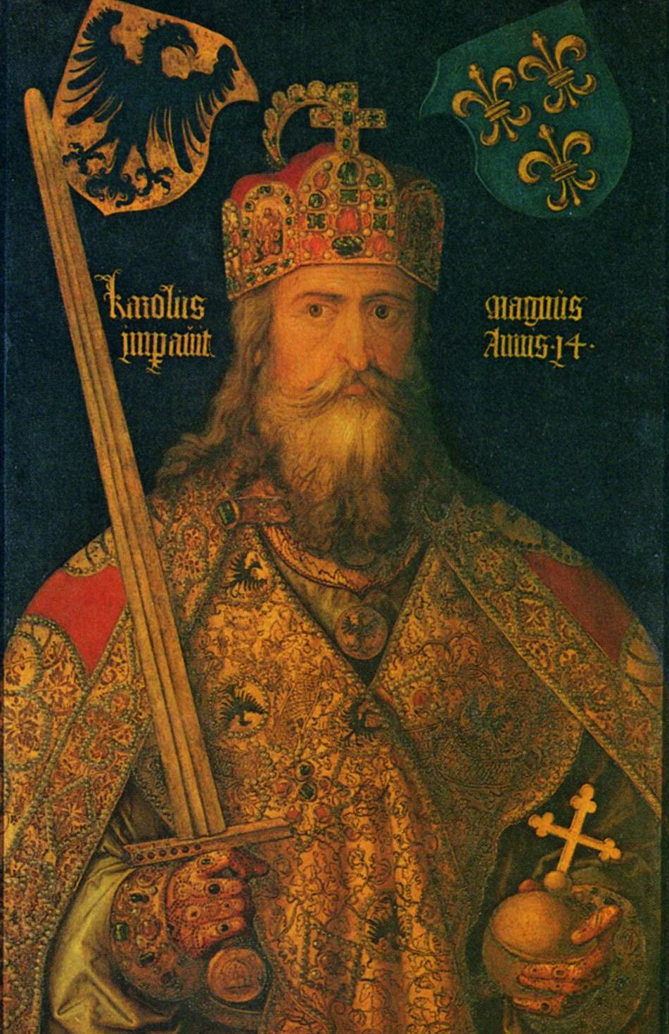 Dla możnowładców Rzeszy królem mógł być tylko ktoś w czyich żyłach płynęła krew Karola Wielkiego. Na ilustracji XVI- wieczny portret cesarza pędzla Albrechta Dürera.