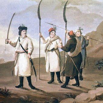 Kosynierzy chłopskiego pospolitego ruszenia z 1794 roku. Obraz Michała Stachowicza.