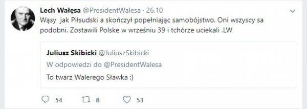 Odpowiedź prezydenta tylko dolała oliwy do ognia. Screen z tweeta Lecha Wałęsy.