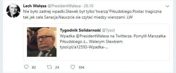 Kolejna chybiona próba wybrnięcia z sytuacji. Screen z tweeta Lecha Wałęsy.