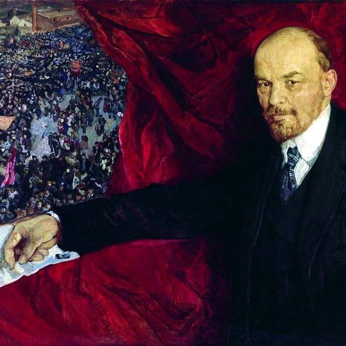 """""""Lenin i manifestacja"""", obraz Izaaka Brodskiego."""