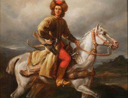 """""""Lisowczyk"""" - żołnierz Aleksandra Lisowskiego, na obrazie Juliusza Kossaka z pierwszej połowy lat 60. XIX wieku."""