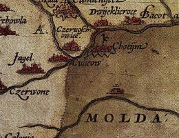 Rzeka Seret na mapie Wacława Grodeckiego z 1571 roku.