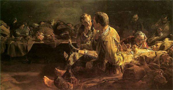 """Obraz Jacka Malczewskiego zatytułowany """"Śmierć na etapie"""". Wszyscy skazani na katorgę, a także na dożywotnie lub długotrwałe osiedlenie, musieli wędrować na Syberię pieszo. Skuci w kajdanach pokonywali dziennie od 21 do 42 kilometrów. Trudno się dziwić, że wielu z nich nie docierało do celu umierając w drodze. Dopiero po dwóch dniach marszu, skazanym pozwalano na odpoczynek."""