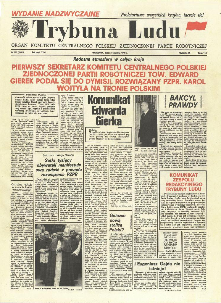 """Nawet """"Trybuna Ludu"""" musiała wyciągnąć z lamusa pojęcie bezrobocia. Na zdjęciu satyryczne """"wydanie specjalne"""" pisma z 1979 roku."""