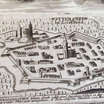 Miasto i zamek w Białym Kamieniu na grafice Friedricha van Hulsena.